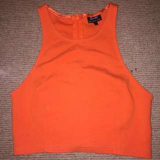 Bardot Orange Halter Neck Crop Top