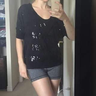 Black Sequin Top- Kenneth Cole Small