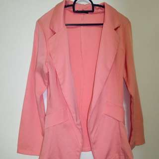 6$ (mailed) Long sleeve outer / cardigan in Peach