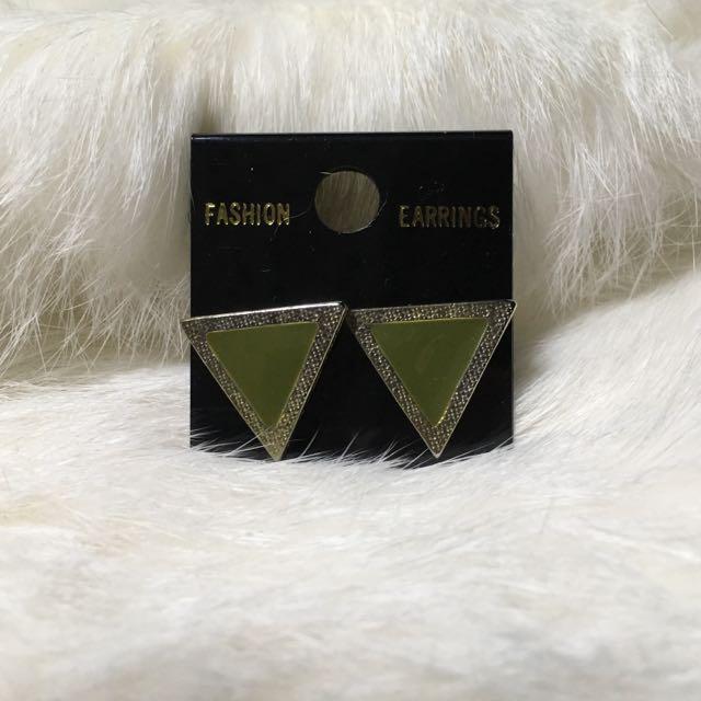 ⑨⑧復刻版金典耳環(三角墨綠)