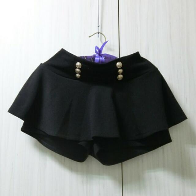 出清~奢華金釦腰飾短褲裙(黑)