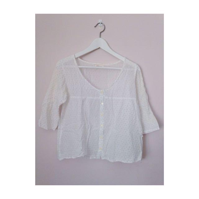白底灰點 薄七分袖 罩衫