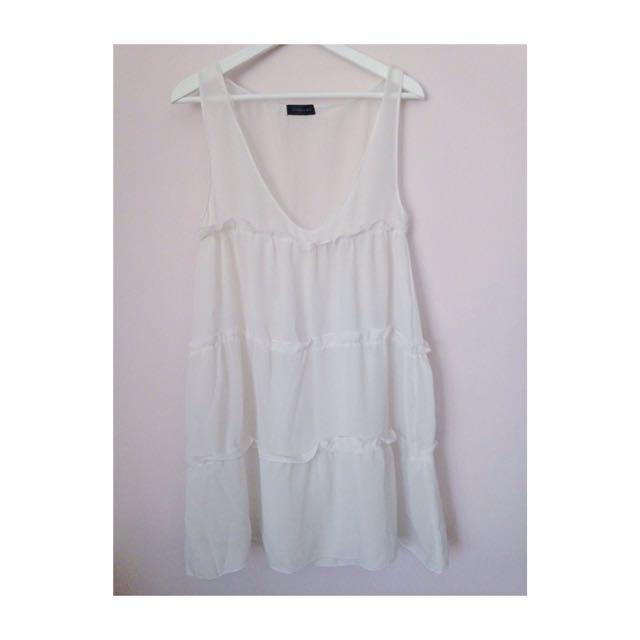 白色雪紡 蛋糕裙設計 長洋罩衫
