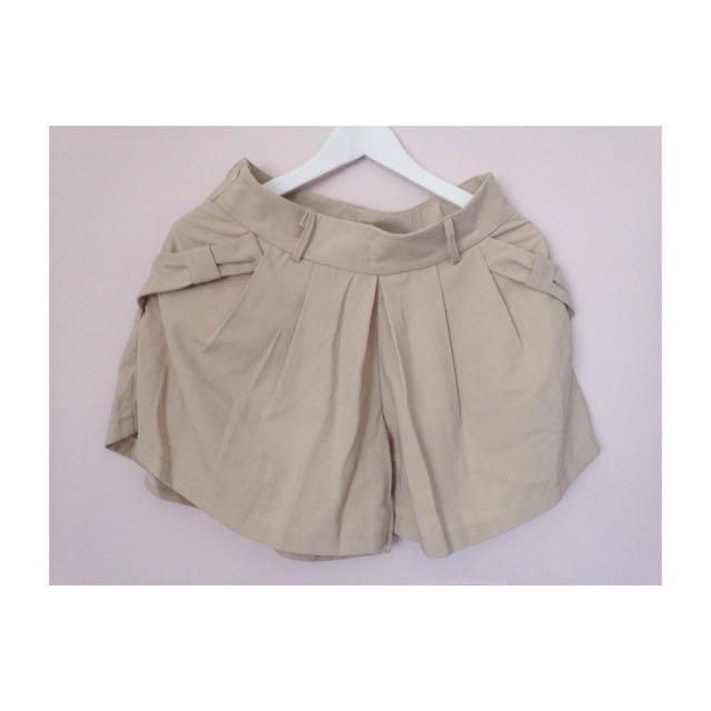 杏色 蝴蝶結 口袋 褲裙