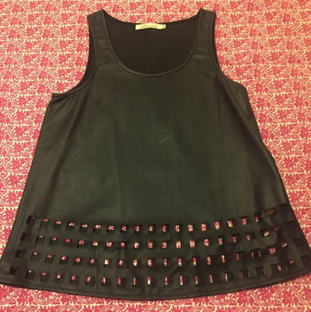 Black Fake Leather Top