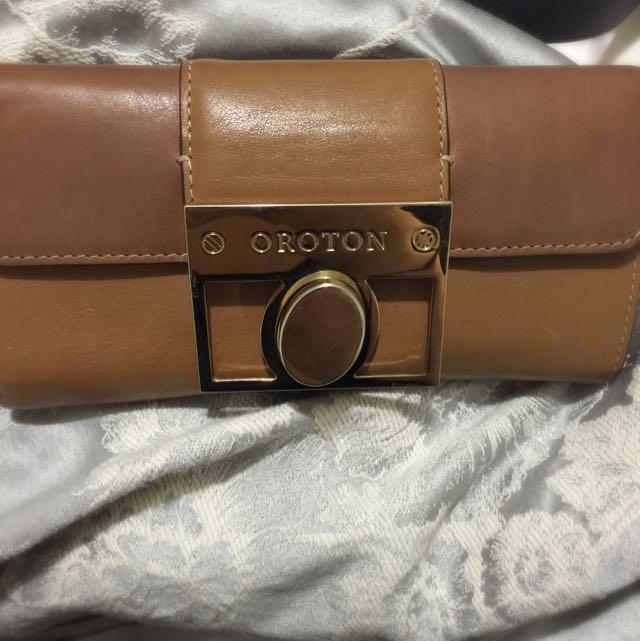 Brown Leather Oroton Wallet