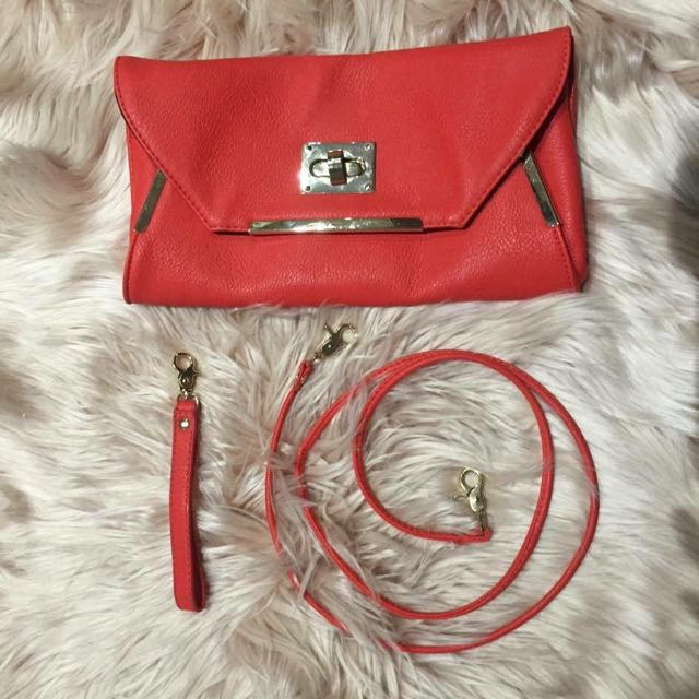 Coral Clutch/Shoulder Bag