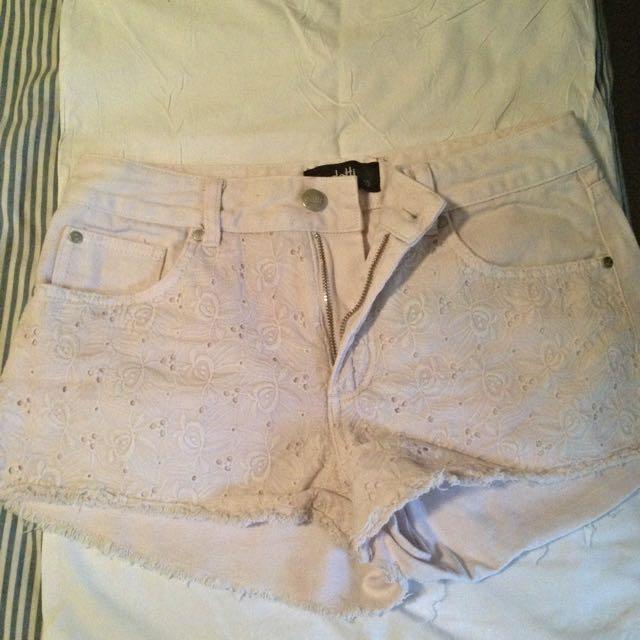 Dotti High Waisted White Shorts
