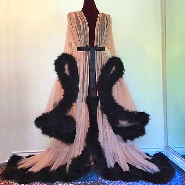 CHANEL Fluffy Luxury Pink Flowy Robe