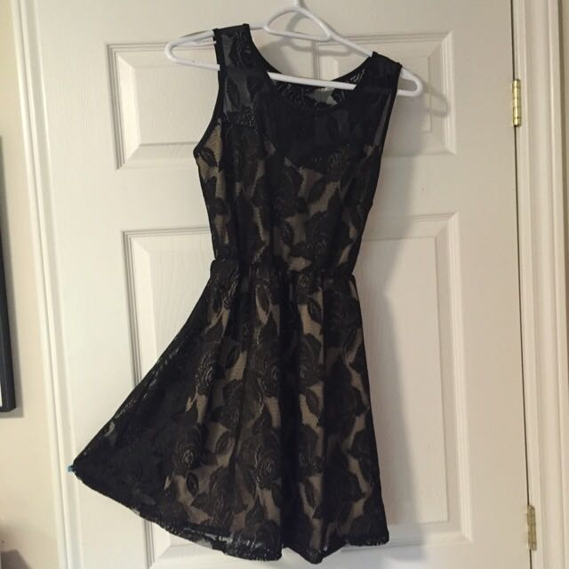 gold and black floral dress