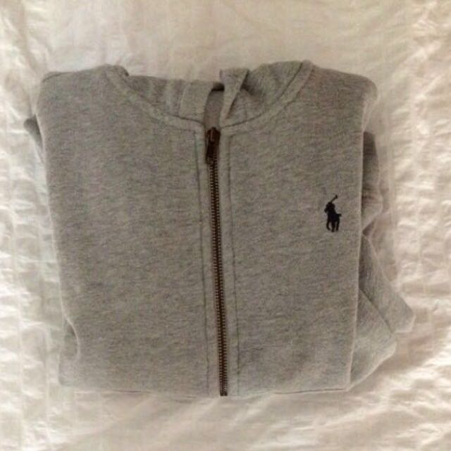 grey ralph polo zip up
