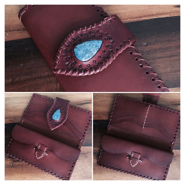 Handmade Leather Bohemian Wallet With Stone Inlay