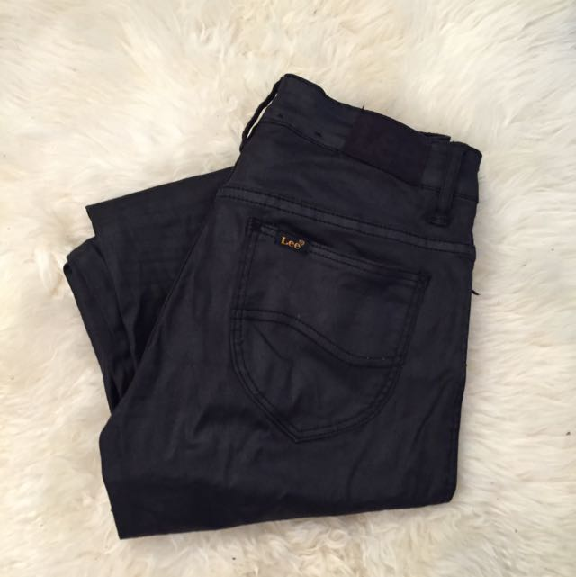 High Waisted Waxed Black Lee Jeans