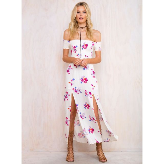 Mink Pink maxi dress white floral size 8