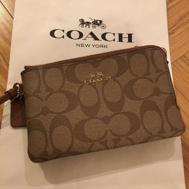 (現貨)全新美國Coach代購女生雙夾層手拿包零錢包