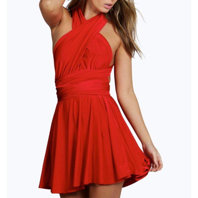 RED multiway Slinky Dress