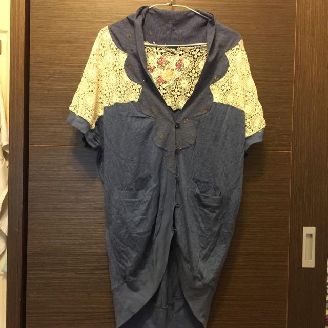 scolar 蕾絲 金蔥點點 前短後長 罩衫