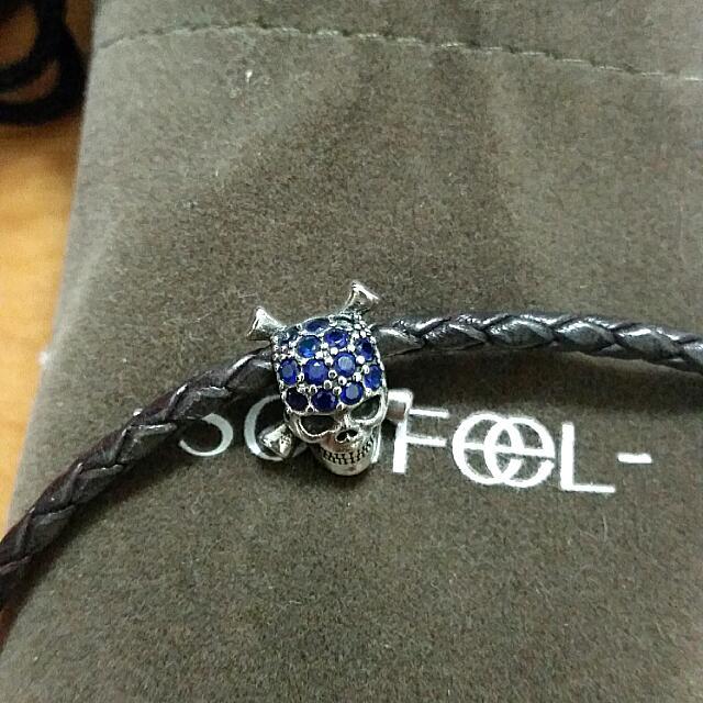 SOUFEEL 索菲爾 925純銀 藍色水鑽顝顱頭串珠