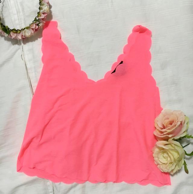(REDUCED !!!) TOPSHOP Neon Pink Scallop Crop Vest
