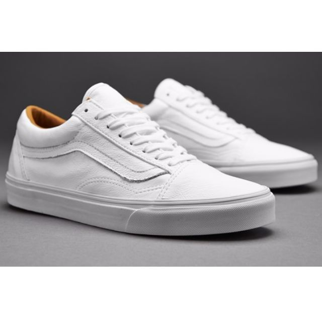 VANS Womens Old Skool Leather Trainer WHITE