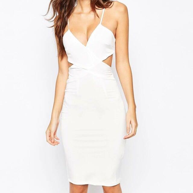 White Front Cross Bodycon Dress