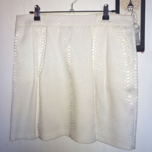White, Printed Mini Skirt