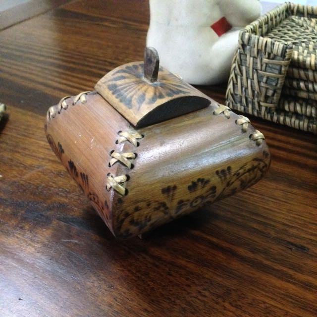 Wooden Branded And Stitched Trinket Box