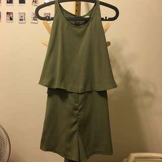 韓 鬆緊拉鍊連身褲裝 夏天款綠色