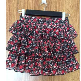 FLOWER PRINTED RUFFLE HIGH WAISTED SKIRT - ALMOST NEW - SIZE SMALL