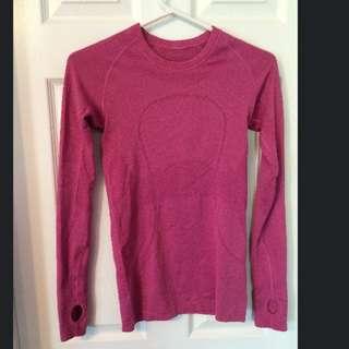 Pink LULULEMON Size 2 long Sleeve