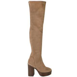 over the knee platform chunky boots brown size 7