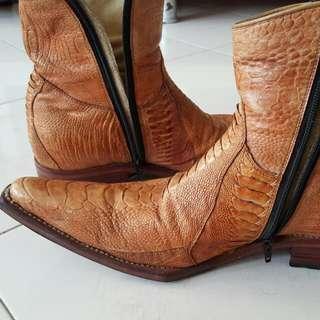 Genuine Ostrich Leg Leather Boot