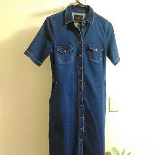 Zara Trafaluc Denim Dress Size 10 Button-Up