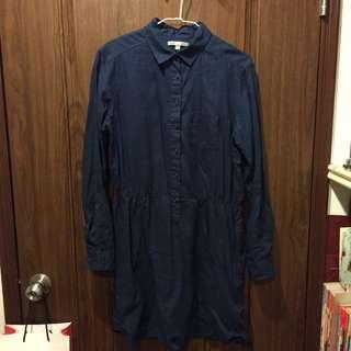UQ-深藍色薄透洋裝