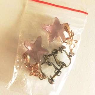 全新 紫星金屬蝴蝶夾耳環 購自法國