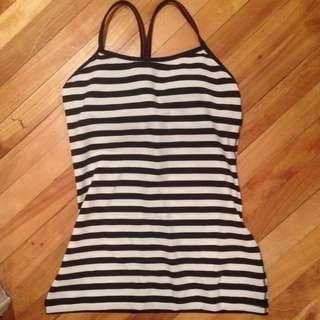 Lululemon Black & White Striped Yoga Top