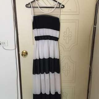 黑白長洋裝
