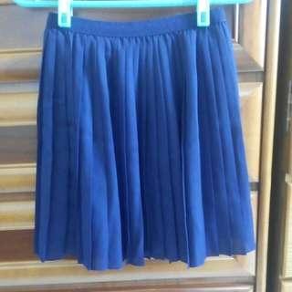 Unique質感藍色百褶裙