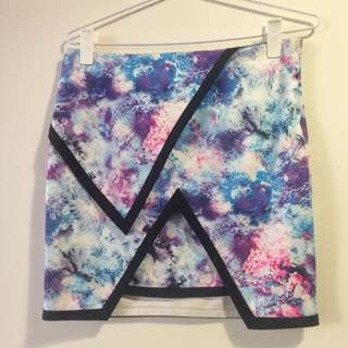 Bodycon Coral/Galaxy Skirt, Club, Festival