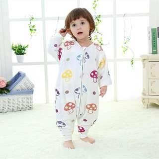 純棉六層紗布分腿睡袋可拆袖嬰幼兒睡袋無甲醛無熒光劑