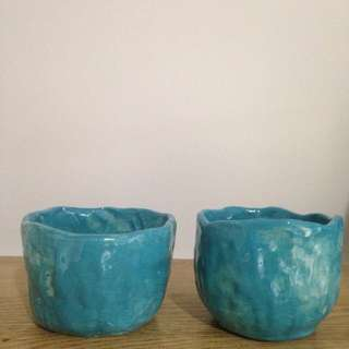 Large Blue Pinch Cups