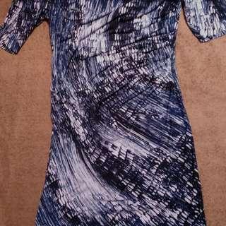Stripe-Abstract Navy Dress