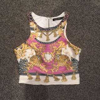 Alive Girl Crop Top Sz 10 Leopard Print