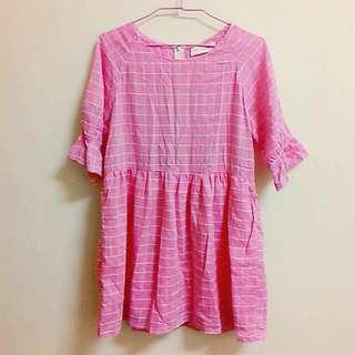 (保留)東京著衣 五分袖粉紅格子上衣洋裝