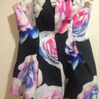 Peplum Strapless Boobtube, Floral Top, Boned Bustier, Corset