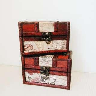 古典玫瑰信件仿舊鎖扣木盒