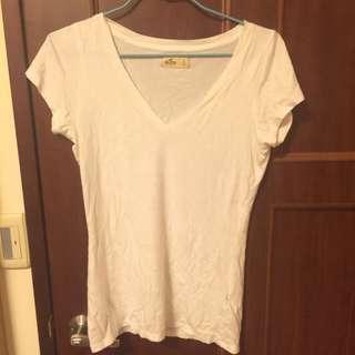 (全新洗過沒穿過)hollister百搭女生白色t Shirt S號 歐美 美國帶回