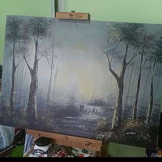 Waterfall Forest Painting