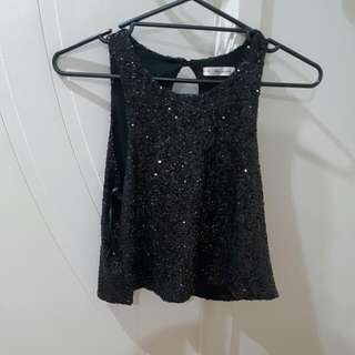 Black Sequined Tank Top Size 12