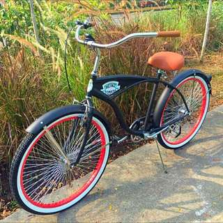 "BNP: 26"" Beach Cruiser Vintage Harley Davidson Bicycle"